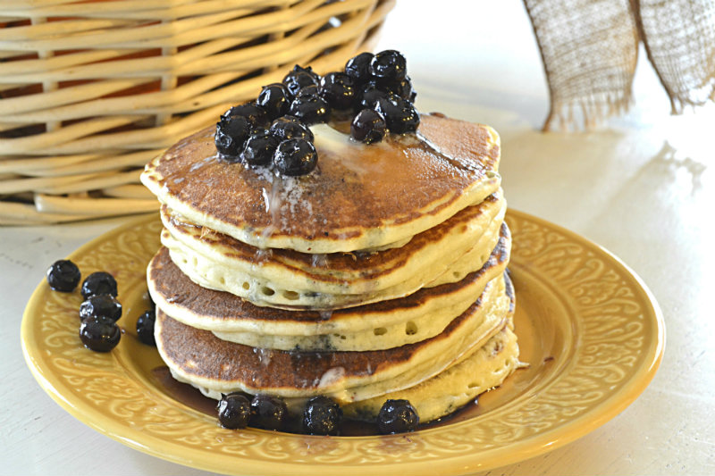 Sour Cream Pancakes and Blueberry Maple Syrup