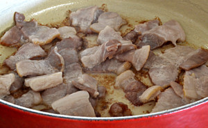 Cooking Bacon for Portuguese Beans