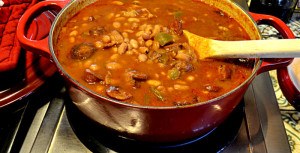 Aromatic Delicious Portuguese Beans with Linguica