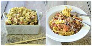 Linguini Carbonara and Fried Rice