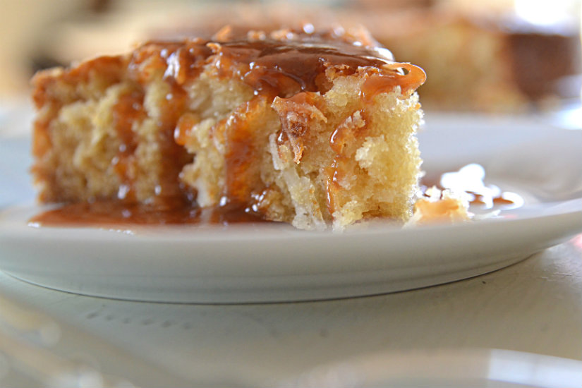 coconut cake with caramel rum sauce