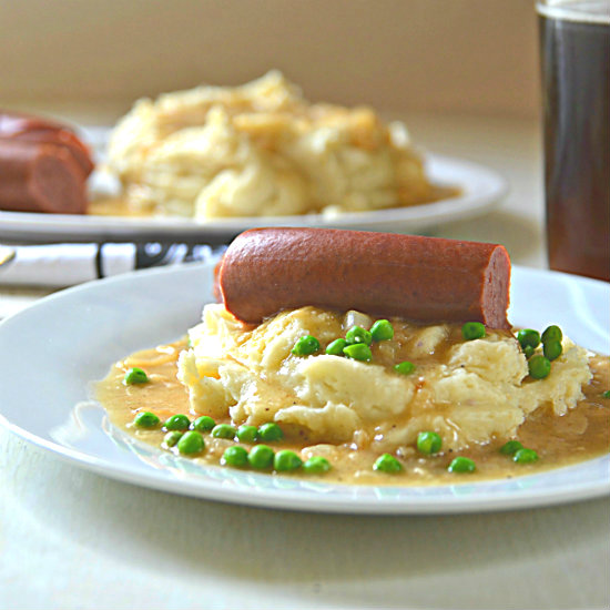 Bangers and Mash with Onion Gravy | kitchengetaway.com