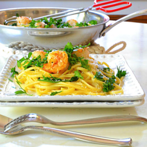 Shrimp, Pasta and Baby Spinach