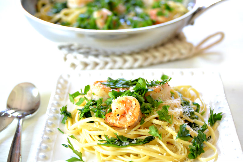 Shrimp, Pasta with Baby Spinach