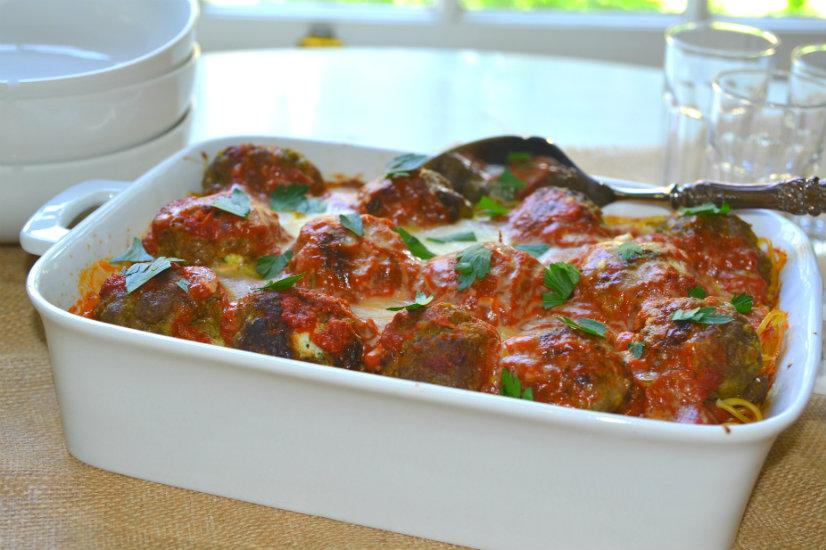Ricotta Stuffed Meatballs & Baked Spaghetti